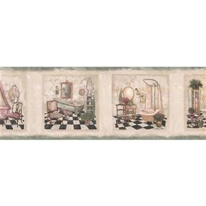 Norwall Vintage Bathrooms in Squares Distressed Wallpaper