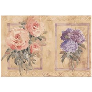 Norwall Distressed Rose Hydrangea in Squares Wallpaper