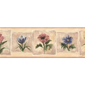 Norwall Distressed Flowers in Squares Wallpaper