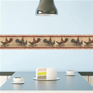 Norwall Colorful Rooster and Hen Wallpaper - Beige/Grey