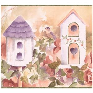 Chesapeake Birdhouses and Flowers Wallpaper - Lilac/Purple