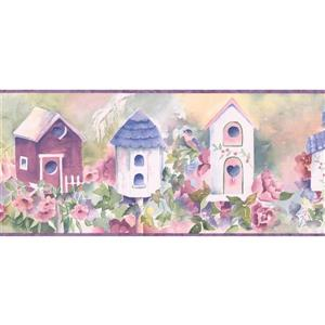 Chesapeake Birdhouse and Flowers Wallpaper -  Cobalt Blue/White