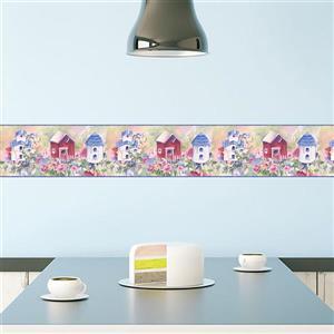 Chesapeake Birdhouses and Flowers Wallpaper - Multicoloured