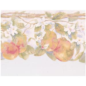 Chesapeake Pears and Flowers on Vine Wallpaper - Yellow