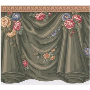 Retro Art Victorian Roses and Flowers Wallpaper - Green