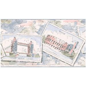 York Wallcoverings Famous Places Around the World Postcards Wallpaper