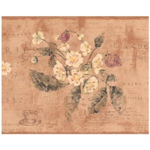 York Wallcoverings Strawberry Distressed Wallpaper - Brown