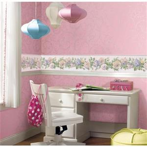 Norwall Bloomed Roses on Vine Wallpaper - Mauve/Pink