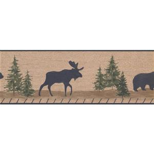 Retro Art Moose and Bear Cracked Wallaper - Light Brown