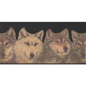 Retro Art Wolves and Pine Cones Wallpaper