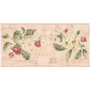 York Wallcoverings Strawberry Distressed Wallpaper - Beige