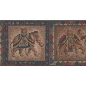 York Wallcoverings Saddled Elephants Wallpaper - Light Brown