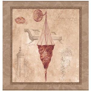 York Wallcoverings Italian Chandeliers in Squares Wallpaper - Beige