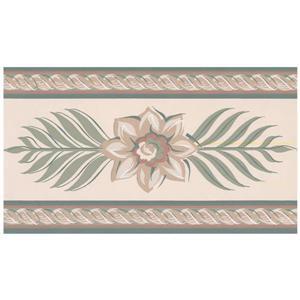 York Wallcoverings Stylized Flowers and Rhombus Leaves Wallpaper - Beige