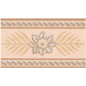 York Wallcoverings Stylized Flowers and Rhombus Leaves Sepia Wallpaper