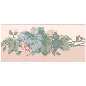 York Wallcoverings Flowers on Green Vines Sepia Wallpaper - Pink