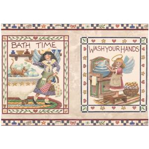 Retro Art Bath Time Wash Your Hands Wallpaper