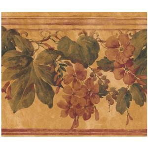 York Wallcoverings Floral Wallpaper - Orange/Brown
