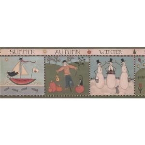 York Wallcoverings Cartoon Snowman and Sail Boat Wallpaper