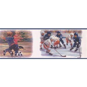 York Wallcoverings Kids Playing Hockey and Soccer Wallpaper