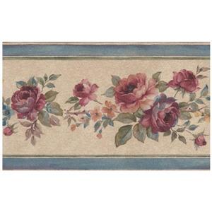 Norwall Bloomed Roses on Vine Wallpaper Border - Pink
