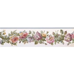 Norwall Blooming Roses Wallpaper Border - Pink