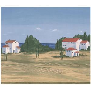 Retro Art Village on Sea Shore Country Wallpaper