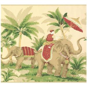 York Wallcoverings Elephants and Palm Trees Wallpaper - Grey/Green