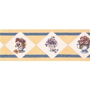 Retro Art Potted Flowers in Rhombus Wallpaper - Yellow