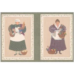 Retro Art Women Cooks in Squares Kitchen Wallpaper