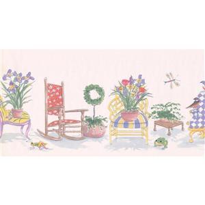 Retro Art Cartoon Victorian Chair and Flowers Wallpaper