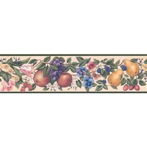 Retro Art Fruits and Flowers Wallpaper - Multicolour