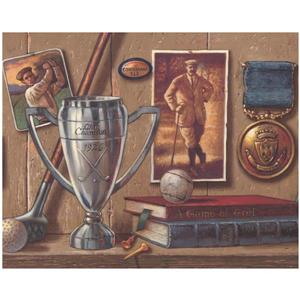 York Wallcoverings Golf Trophy Pictures and Books Wallpaper