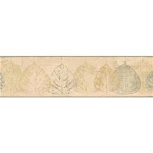 Norwall Distressed Leaves Wallpaper - Green/Beige