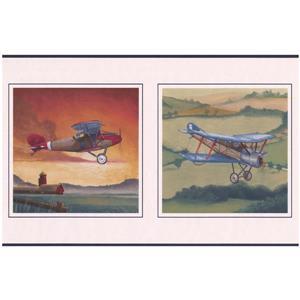 Retro Art Vintage Planes in Squares Wallpaper