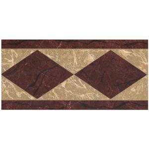 Norwall Abstract Rhombus Wallpaper Border - Maroon/Beige