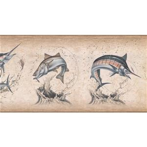 York Wallcoverings Retro Fish Variety Wallpaper - Beige