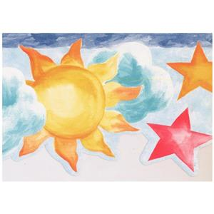 Norwall Kids Sun and Clouds Wallpaper - Teal