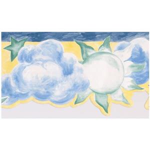 Norwall Kids Sun and Clouds Wallpaper - Yellow