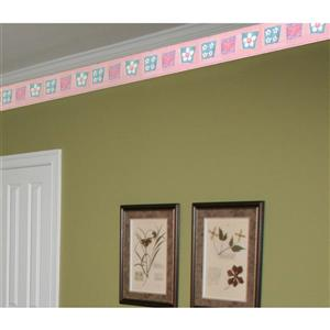 Norwall Kids Daisies and Hearts in Squares Wallpaper - Pink