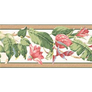 York Wallcoverings Flowers on Vine Wallpaper - Pink/White