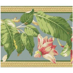 York Wallcoverings Painted Flowers on Vine Wallpaper - Pink/Sage
