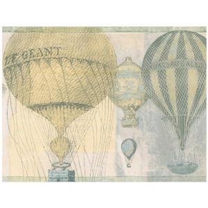 Norwall Vintage Hot Air Baloon Wallpaper - Yellow/Grey