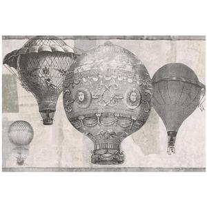 Norwall Vintage Hot Air Baloon Wallpaper - Grey