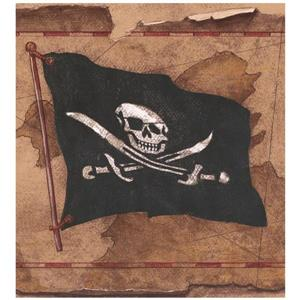 York Wallcoverings Prepasted Jolly Roger Flags on Map Wallpaper - Brown