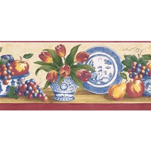 Norwall Prepasted Fruits and Vase Wallpaper - Blue