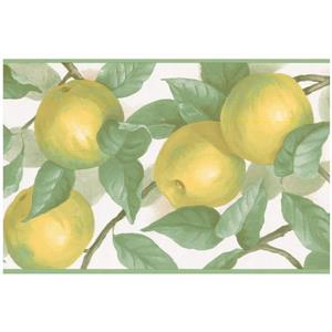 Norwall Prepasted Apples on Vine Wallpaper - Yellow