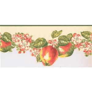 York Wallcoverings Prepasted Apples and Flowers Wallpaper