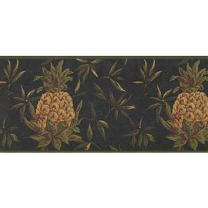 York Wallcoverings Prepasted  Yellow Pineapple Wallpaper - Green