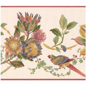 York Wallcoverings Prepasted Colorful Parrots on Vine Wallpaper